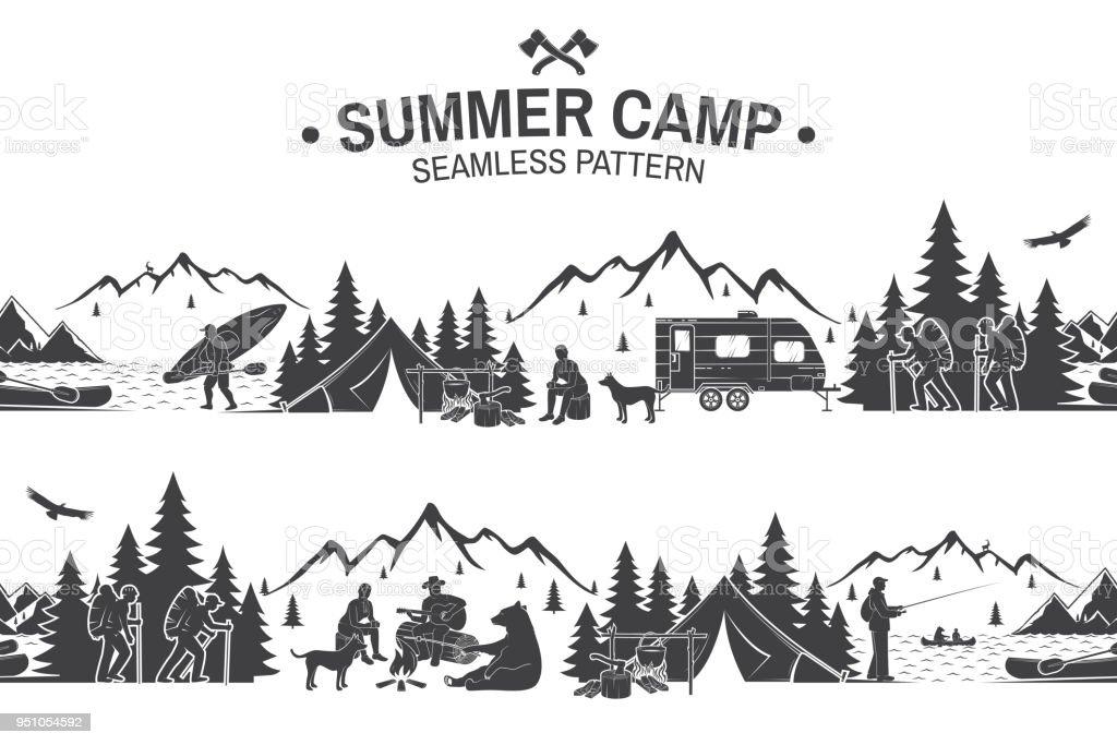 Summer camp seamless pattern. Vector illustration vector art illustration