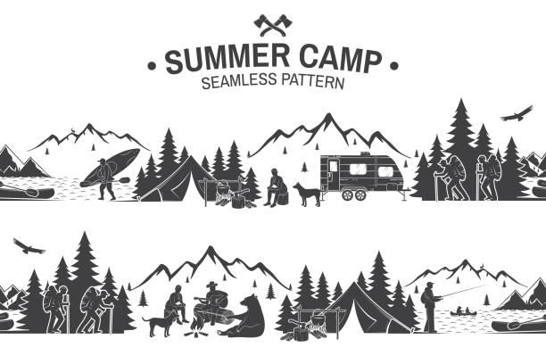 ilustrações, clipart, desenhos animados e ícones de padrão sem emenda acampamento de verão. ilustração vetorial - atividades ao ar livre