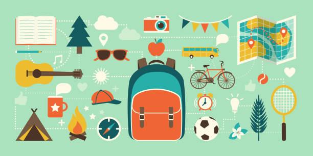sommerlager, urlaub und ikonen - tour bus stock-grafiken, -clipart, -cartoons und -symbole