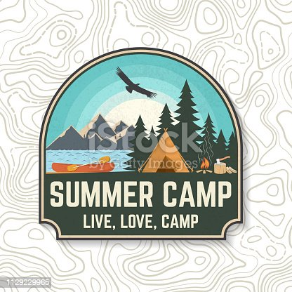 Summer camp. Vector. Concept for patch, shirt, print, stamp or tee. Vintage typography design with canoe, paddle, camping tent and forest silhouette. Extreme water sport kayak patches