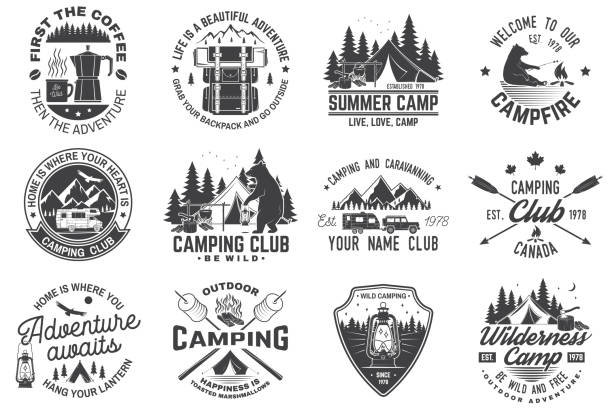 summer camp. vector. concept for shirt or patch, print, stamp. vintage typography design with rv trailer, camping tent, campfire, bear, coffee maker, pocket knife and forest silhouette. - caravan stock illustrations