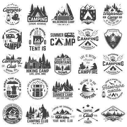 Summer camp. Vector. Concept for shirt or patch, print, stamp. Vintage typography design with rv trailer, camping tent, campfire, bear, coffee maker, pocket knife and forest silhouette.