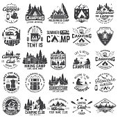 Summer camp. Vector. Concept for shirt or patch, print, stamp or tee. Vintage typography design with rv trailer, camping tent, campfire, bear, coffee maker, pocket knife and forest silhouette.