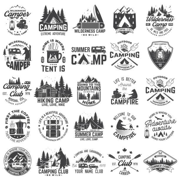 ilustrações, clipart, desenhos animados e ícones de acampamento de verão. vector. conceito de camisa ou patch, impressão, carimbo. tipografia vintage com reboque de rv, barraca de acampamento, fogueira, urso, cafeteira, silhueta de bolso faca e floresta. - exterior