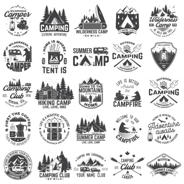 summer camp. vector. concept for shirt or patch, print, stamp. vintage typography design with rv trailer, camping tent, campfire, bear, coffee maker, pocket knife and forest silhouette. - log cabin stock illustrations, clip art, cartoons, & icons