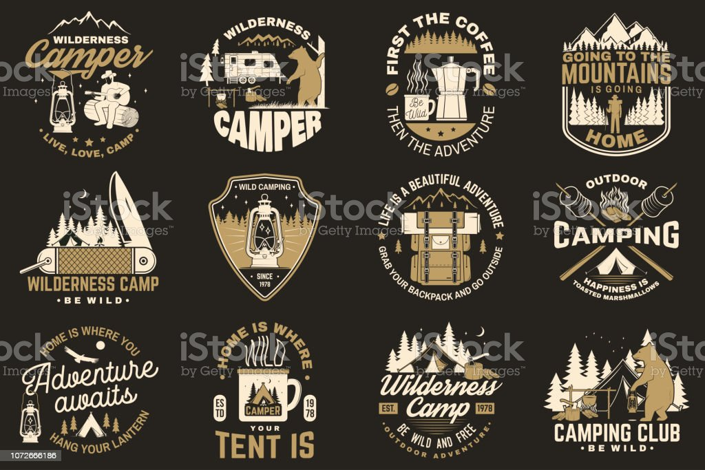 Summer camp. Vector. Concept for shirt or patch, print, stamp. Vintage typography design with rv trailer, camping tent, campfire, bear, coffee maker, pocket knife and forest silhouette. Summer camp. Vector. Concept for shirt or patch, print, stamp or tee. Vintage typography design with rv trailer, camping tent, campfire, bear, coffee maker, pocket knife and forest silhouette. Adventure stock vector
