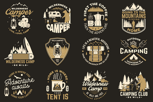 Summer Camp Vector Concept For Shirt Or Patch Print Stamp Vintage Typography Design With Rv Trailer Camping Tent Campfire Bear Coffee Maker Pocket Knife And Forest Silhouette Stock Illustration - Download Image Now