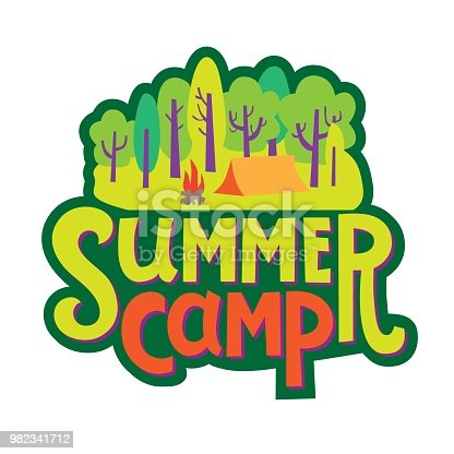 Hand-drawn inscription Summer Camp with Illustration of a tent camp in the forest. For invitation, card, poster or banner. Summer quotes. Vector illustration.