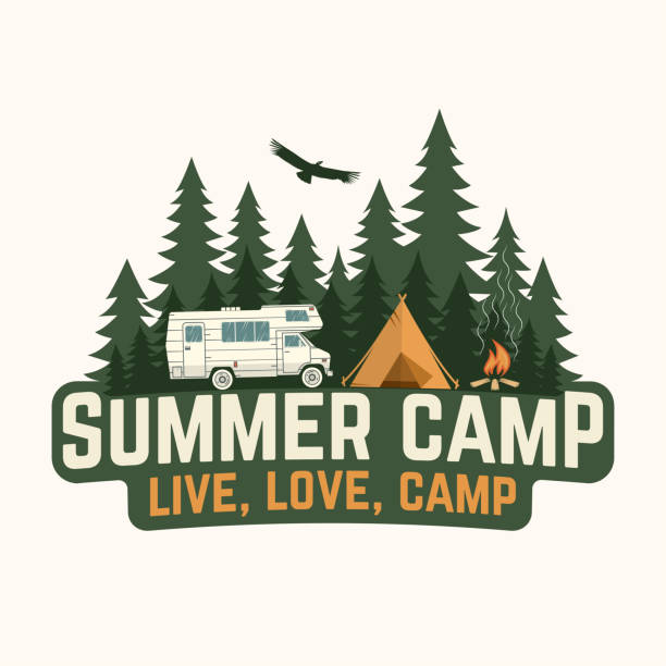 Summer camp. Vector illustration. Concept for shirt or logo, print, stamp or tee. Summer camp. Vector illustration. Concept for shirt or logo, print, stamp or tee. Vintage typography design with rv trailer, camping tent and forest silhouette. adventure clipart stock illustrations