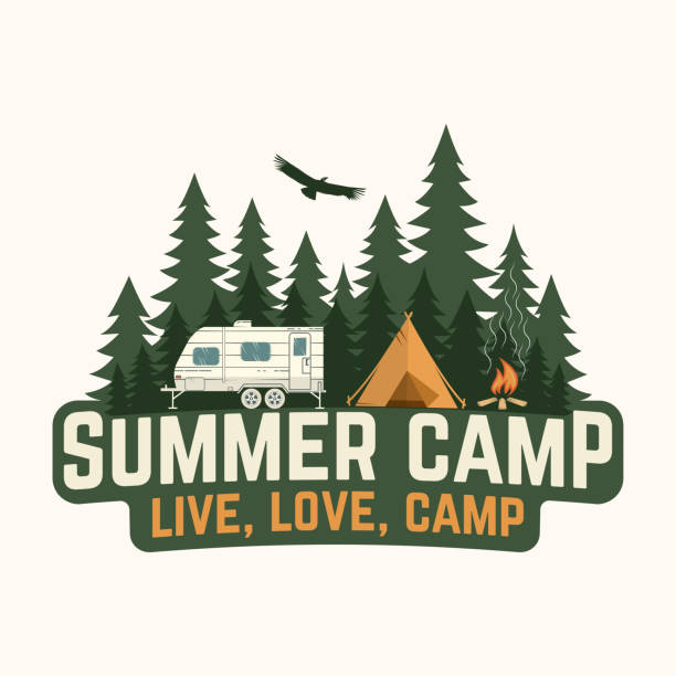 Summer camp. Vector illustration. Concept for shirt or logo, print, stamp or tee. Summer camp. Vector illustration. Concept for shirt or logo, print, stamp or tee. Vintage typography design with rv trailer, camping tent and forest silhouette. motor home stock illustrations