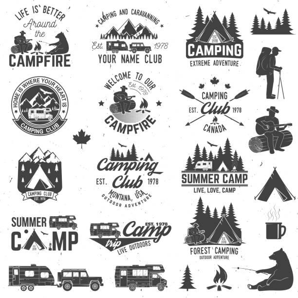 sommer-camp. vektor-illustration. konzept für hemd oder logo, print, stempel oder abschlag - campinganhänger stock-grafiken, -clipart, -cartoons und -symbole