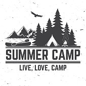 Summer camp. Vector illustration. Concept for shirt or logo, print, stamp or tee