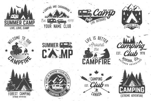 sommer-camp. vektor-illustration. konzept für hemd oder, print, stempel oder t-shirt - campinganhänger stock-grafiken, -clipart, -cartoons und -symbole