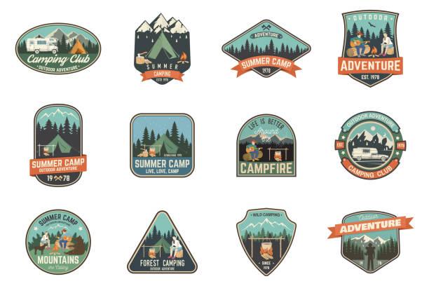 stockillustraties, clipart, cartoons en iconen met zomerkamp. vectorillustratie. concept voor shirt of symbool, afdrukken, stempel of tee - patchwork
