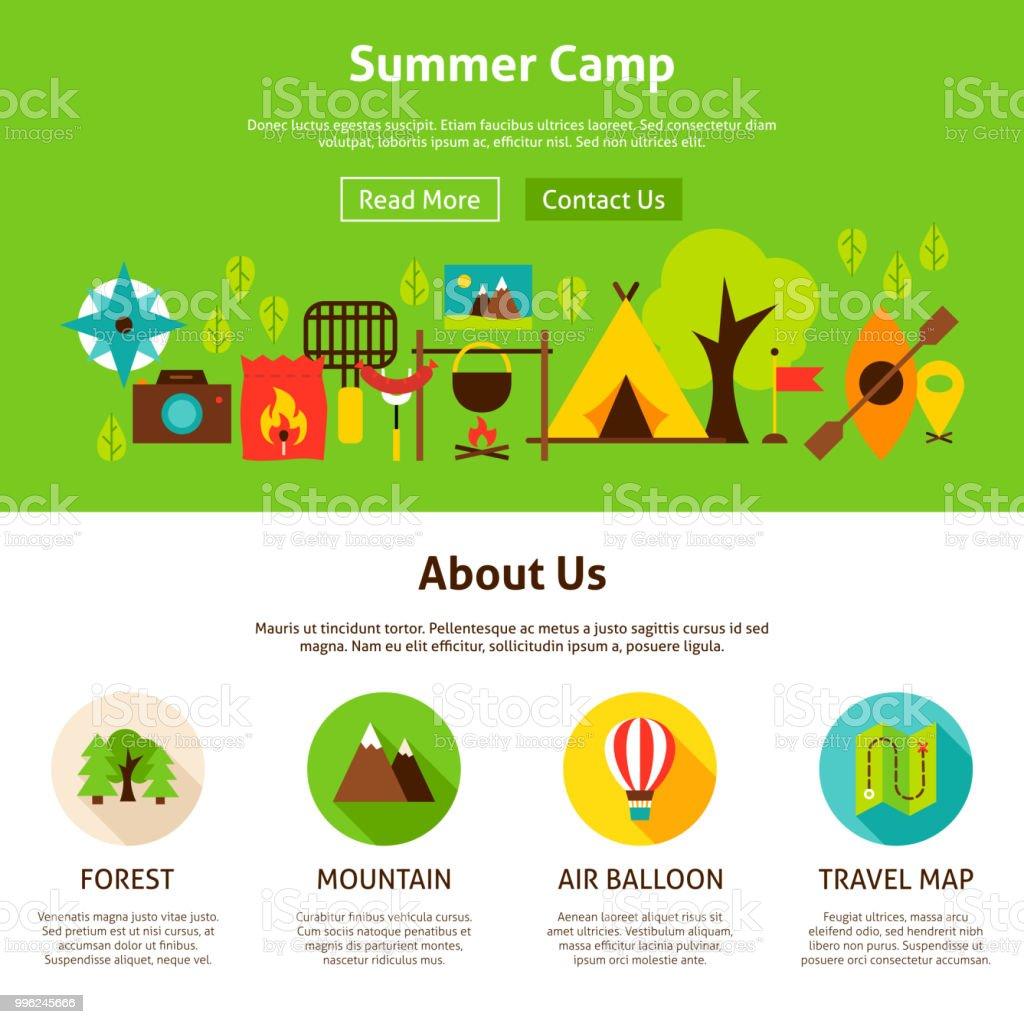 夏のキャンプの Web デザイン アイコンのベクターアート素材や画像を