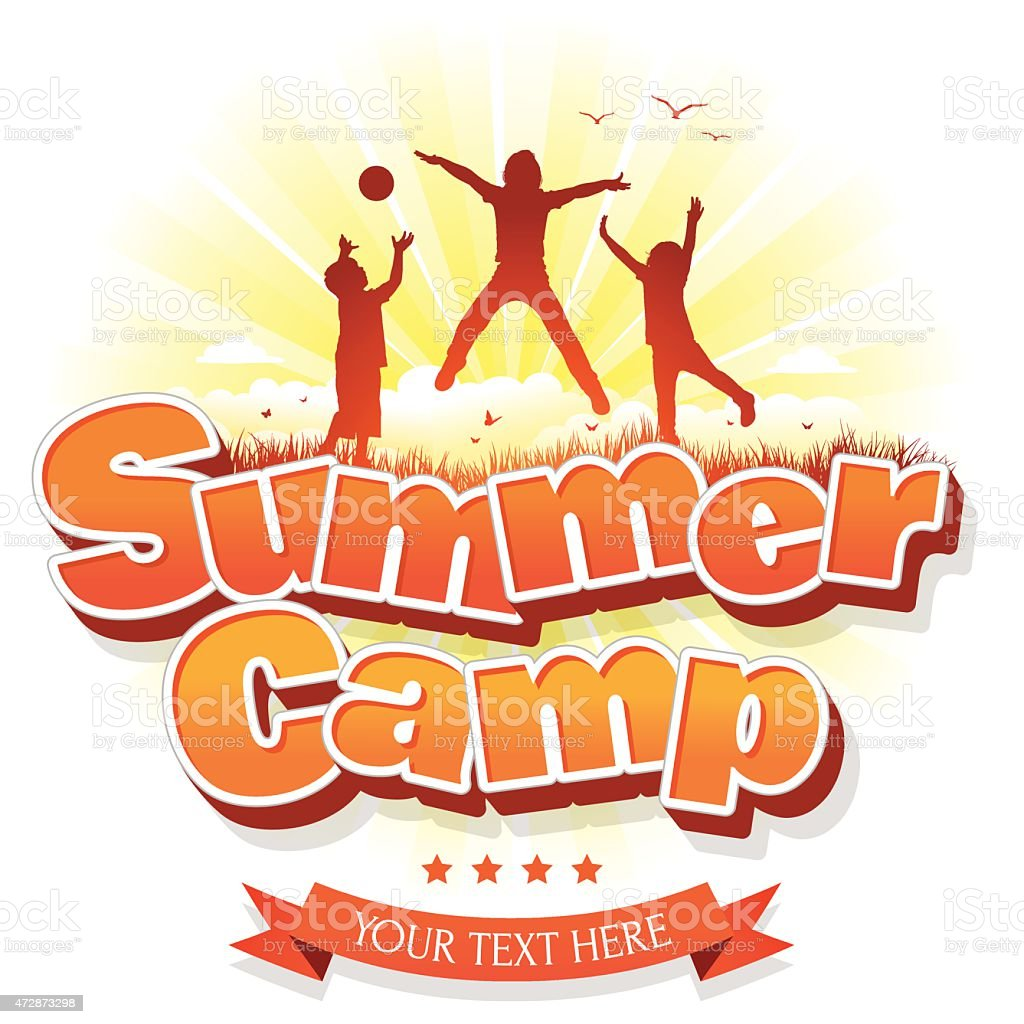 Summer Camp with happy group of children or kids jumping vector art illustration