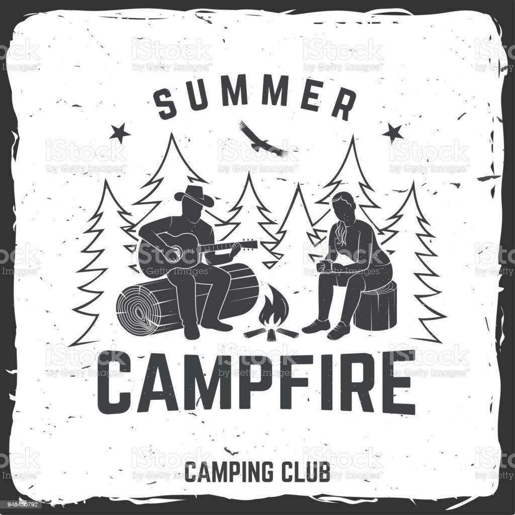 Summer campfire badge. Vector illustration. Concept for shirt or print, stamp, travel badge or tee vector art illustration