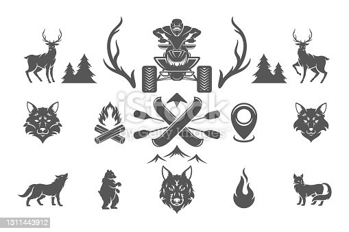 Summer camping and outdoor adventures design elements and icons set vector illustration