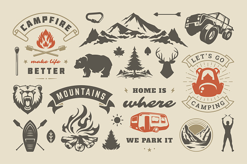 Summer camping and outdoor adventures design elements set, quotes and icons vector illustration
