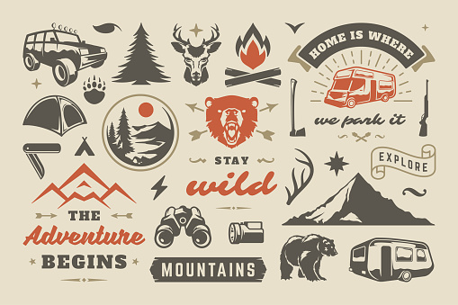 Summer camping and outdoor adventures design elements set, quotes and icons vector illustration. Mountains, wild animals and other. Good for t-shirts, mugs, greeting cards, photo overlays and posters