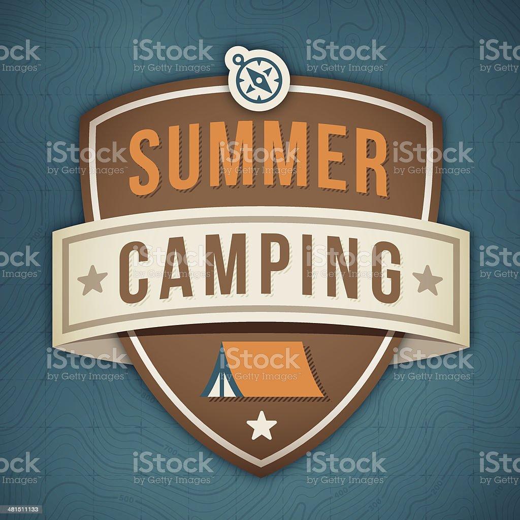 Summer Camping Badge vector art illustration