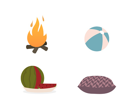 Summer camping flat objects set