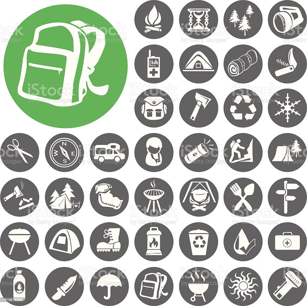 Sommer camping-icon-set.  Illustration eps10 – Vektorgrafik