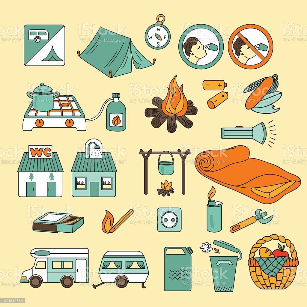 Summer camping icon set. Vector