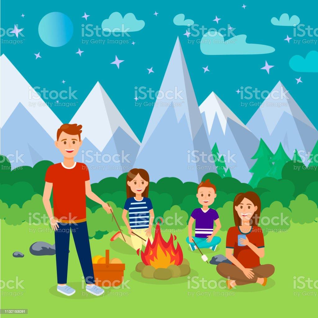 Summer Camping in Mountains Cartoon Illustration. Vacation, Holidays...
