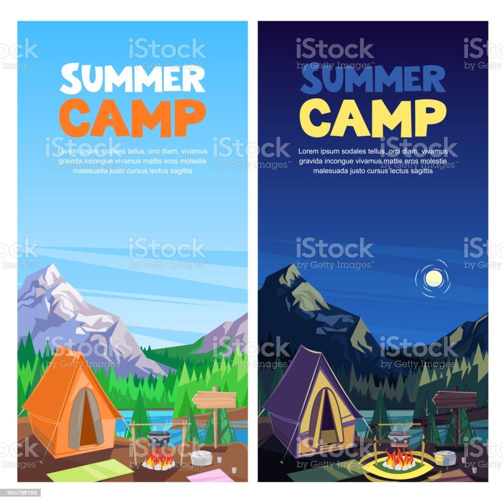 夏は山谷ベクター バナーポスター デザイン テンプレートでのキャンプし