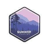 Summer camping label. Conifers panorama.