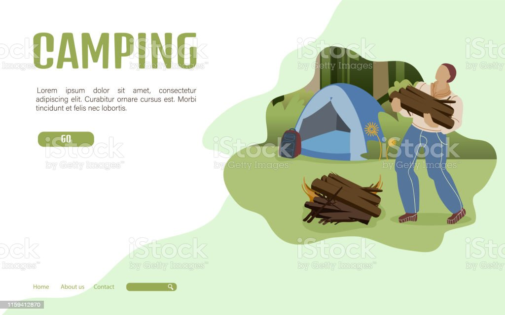 Summer Camping Landing Page Flat Vector Template. Male Camper...