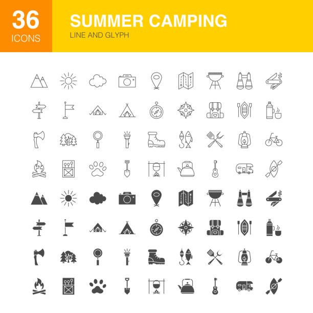 Summer Camping Line Web Glyph Icons Summer Camping Line Web Glyph Icons. Vector Illustration of Camp Outline and Solid Symbols. adventure icons stock illustrations