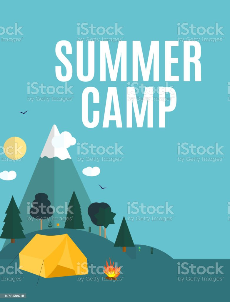 Summer Camping Nature Background in Modern Flat Style with Sample...