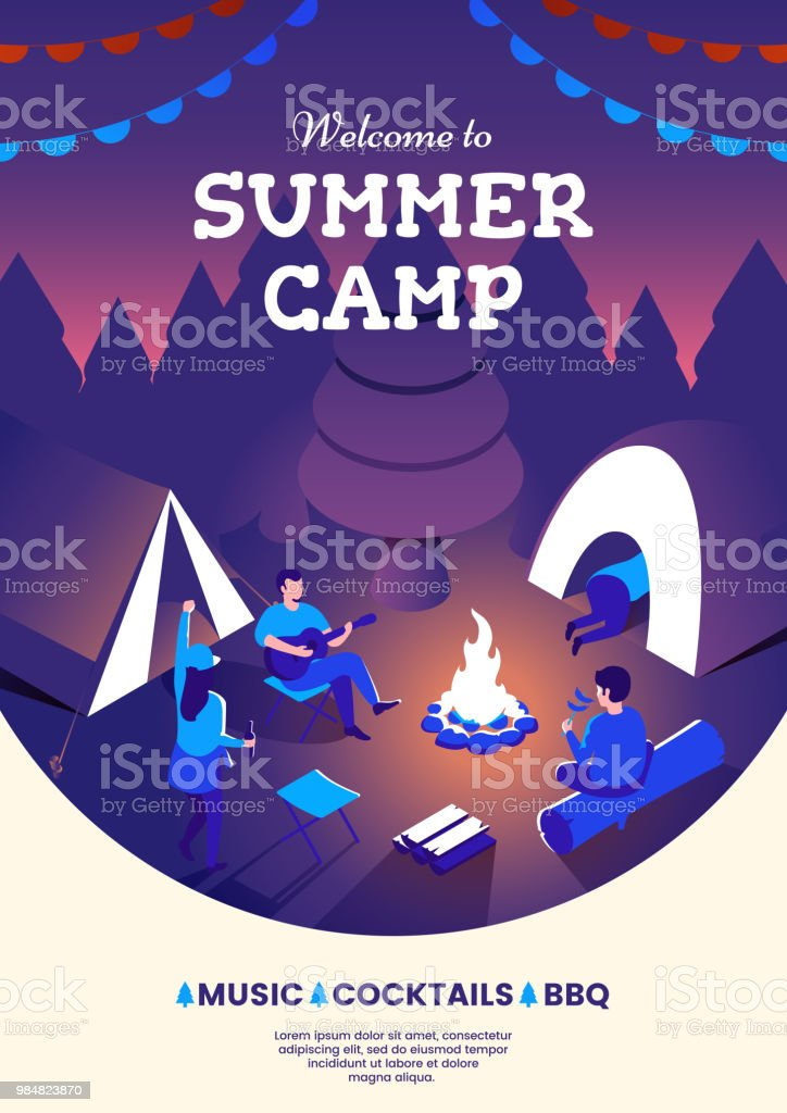 summer camping party invitation poster group of people sitting at a