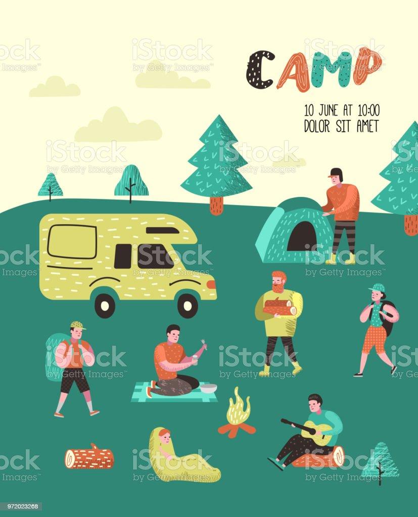Summer camping poster banner cartoon characters people in camp cartoon characters people in camp placard invitation background stopboris Images