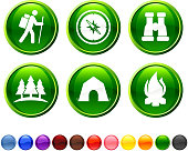 Summer Camping royalty free vector icon set