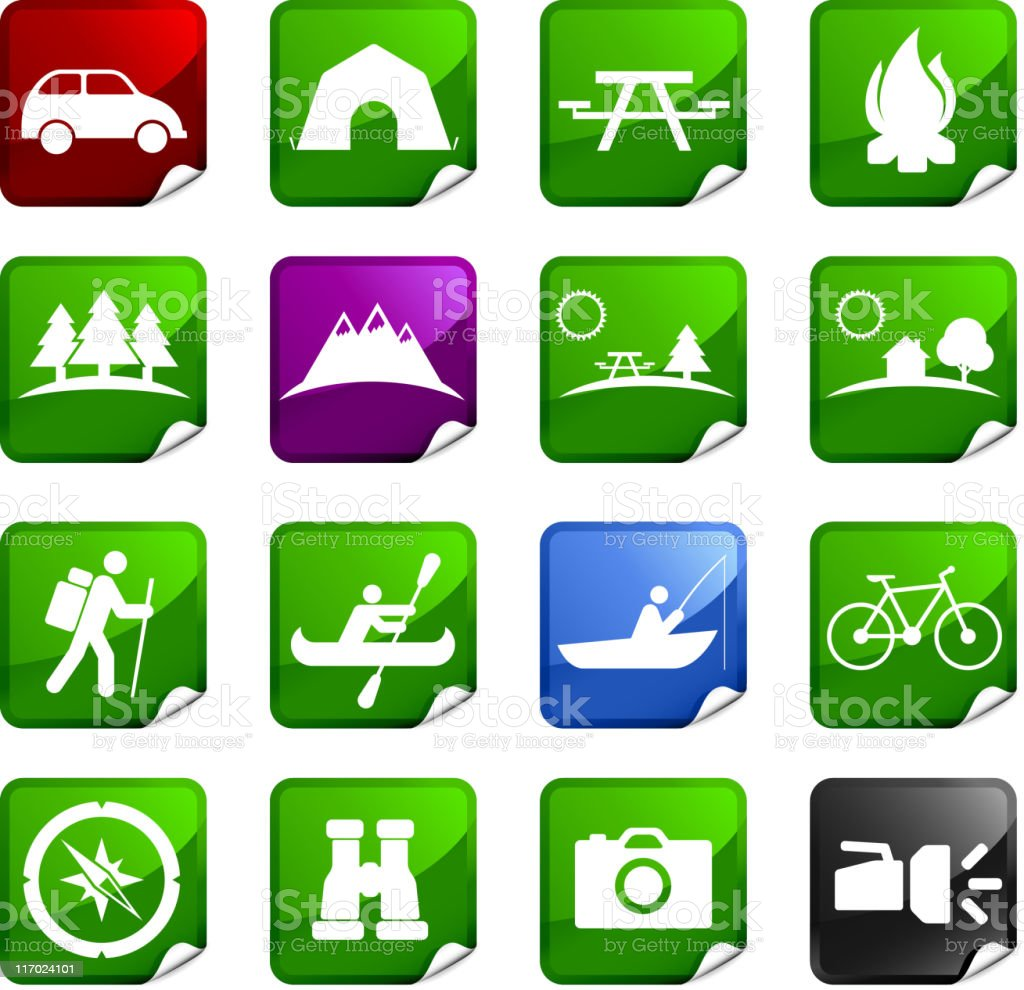 Summer Camping sixteen royalty free icons royalty-free summer camping sixteen royalty free icons stock vector art & more images of bicycle