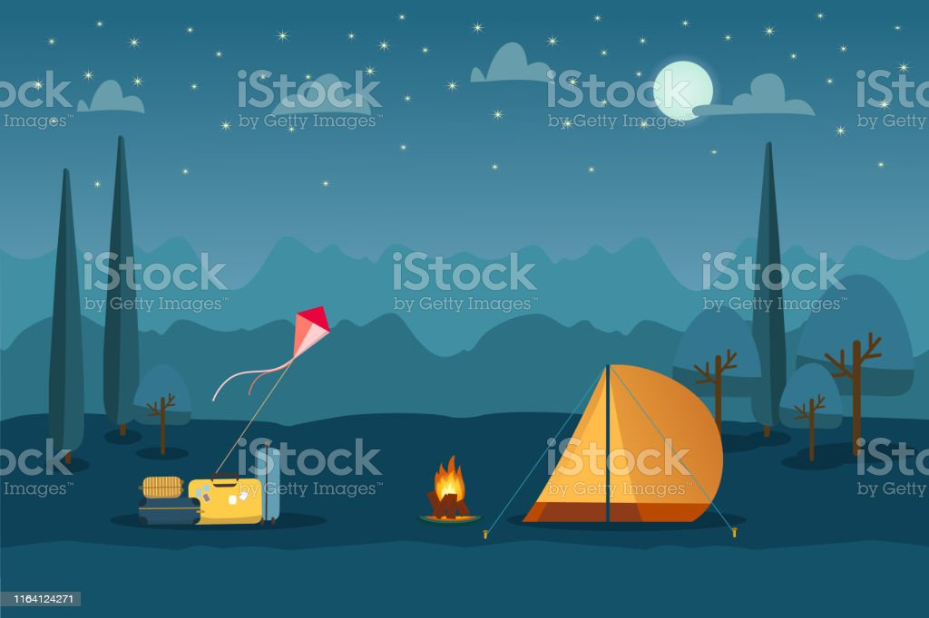 Summer camping tourism landscape background with suitcases, kite,...