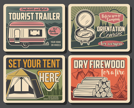 Summer camping, tourist trailer, firewood and tent