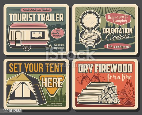 Camping vector vintage posters, summer outdoor adventure. Forest camping tents place sign and tourist trailers rental, dry firewood, mountain expedition and hiking travel orientation courses