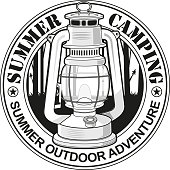 Black and white summer camping logo.  Easy editable for graphic t-shirt print..