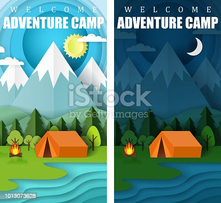 Summer camping vector paper cut banner set. Welcome adventure camp web templates with day and night sky, forest, mountains, lake, campfire and tent.