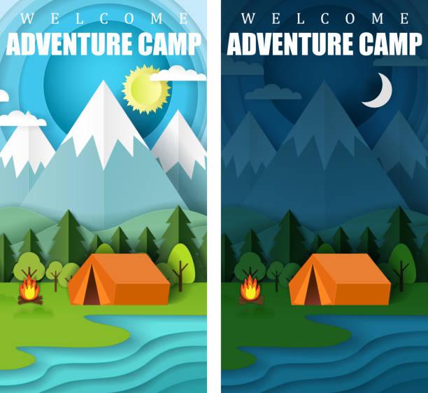 ilustrações de stock, clip art, desenhos animados e ícones de summer camping vector paper cut banner set - camping