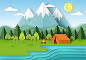 Summer camping background with forest, mountains, lake, campfire and tent. Vector illustration in paper art style.