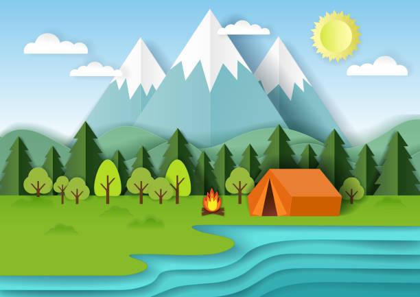 ilustrações de stock, clip art, desenhos animados e ícones de summer camping vector paper cut illustration - camping