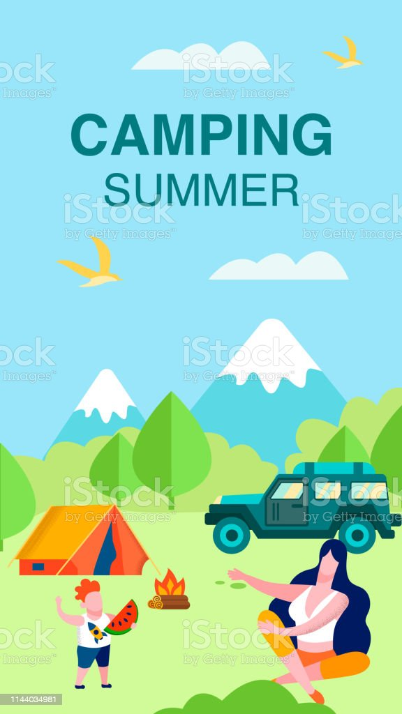 Summer Camping Vertical Card with Lettering Cartoon Forest above...