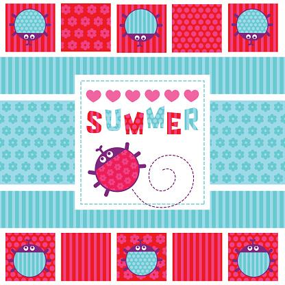 Summer card creeping ladybug vector illustration
