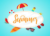 Summer card or banner with beach elements. Vector illustration. EPS10