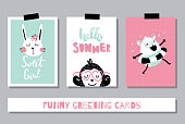 vector set of adorable and funny summer cards
